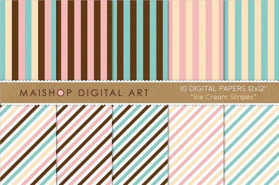 Digital Paper-Ice Cream Stripes-Vanilla,Baby Pink,Blue,Wh ,ChocolateBrw Striped Papers