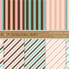 Digital Paper-Ice Cream Stripes-Vanilla,Baby Pink,Blue,Wh ,ChocolateBrw Striped Papers