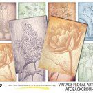 VINTAGE Floral Art Cards ATC ACEO Backgrounds