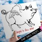 Flying Piggy Digital Image Transfer-Flying Pig print for TotesLinens Shirts-2 Versions Pink