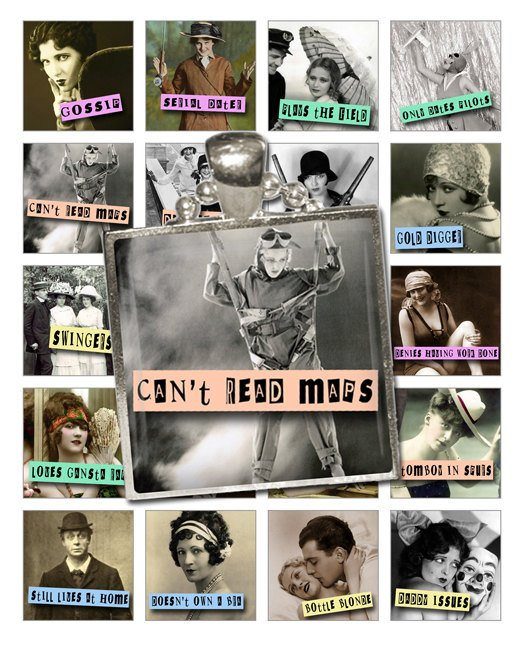 1.5-Inch Squares Kiss My Sass Tiles Collage Sheet-Retro Sass print for PendantsMagnets