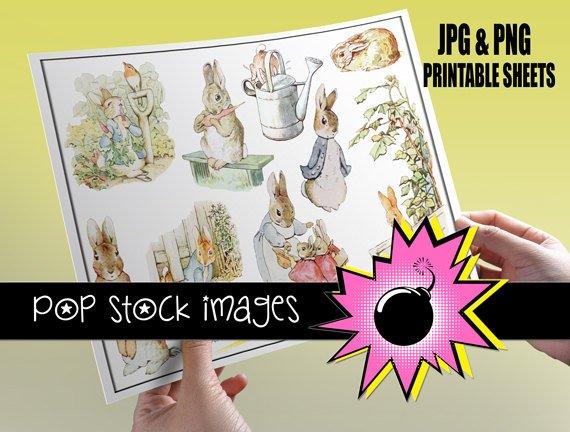 Peter Rabbit print Sticker Sheet-Print Bunny Rabbit StickersingAltered ArtCards