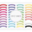 Curved Ribbon Banners Clip Art-Digital Graphics for Web Blog DesignScrapbookCards