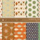 Digital Paper-Brood-CreamBlueOrg,BrwStarsTrianglesGeometric PapersCards