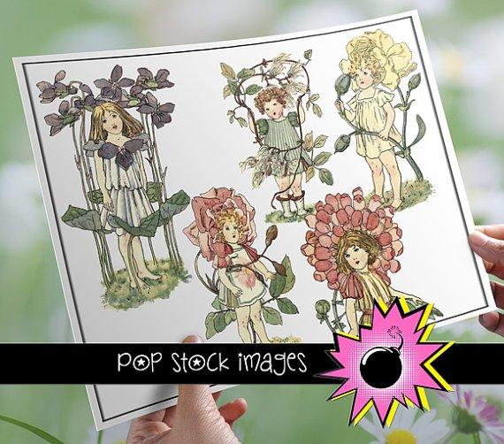 Digital Images Girls with Flowers - vintage print