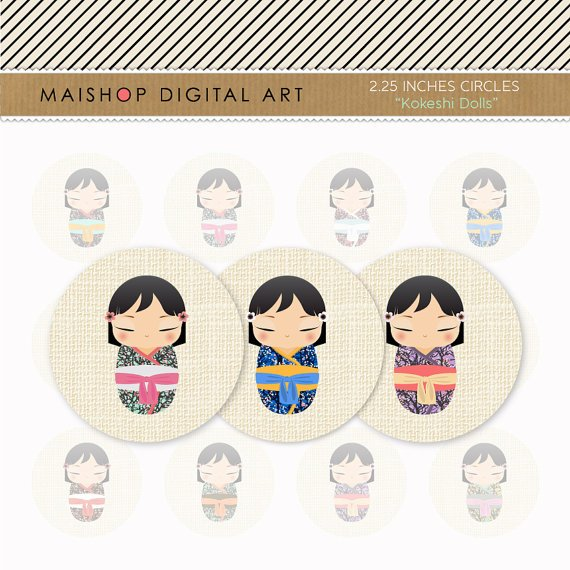 2.25' Digital Collage Sheet Circles - Japanese Kokeshi Dolls