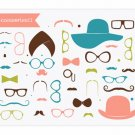 Mustaches Clipart - Little Man - Accessories II - Hats, Glasses, Moustaches
