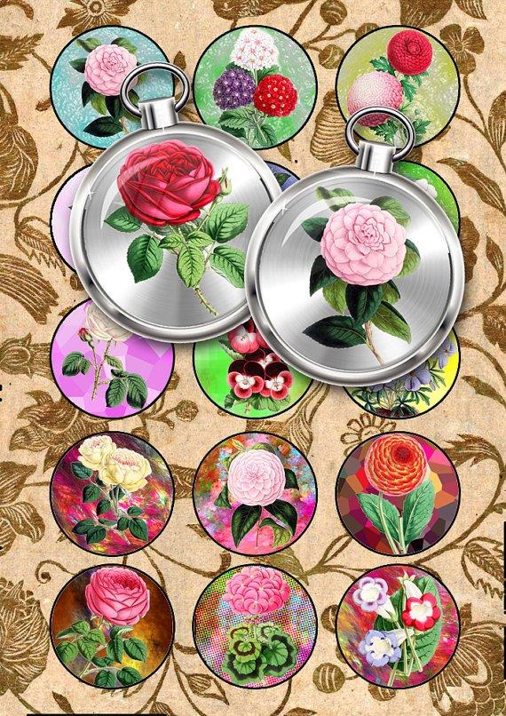Collage FLOWERS-04-c vintage print