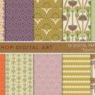 Digital Paper-Egyptian-CreamPurpLilacGoldGrn,OrgOrnament FloralGeometric