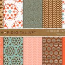 Digital Paper-Grego II-BrwTurquoiseRedOrgGoldFloral OrnamentLaurel Leaves