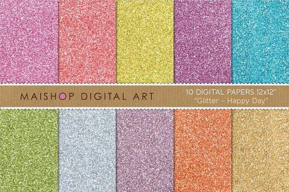 Digital Paper Glitter - Happy Day