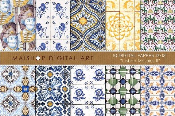 Digital Paper Tiles-Lisbon Mosaics II-Portuguese W Tiles print Sheets Digital ,Scrapbooking