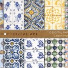 Digital Paper Tiles-Lisbon Mosaics II-Portuguese W Tiles print Sheets Digital ,Scrapbooking