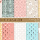 Digital Paper - Blossom - Floral, Geometric Chinese print Patternsing