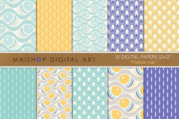 Digital Paper-Follow me-YWBluGrnWhJPG print Digital PatternsingCard Making