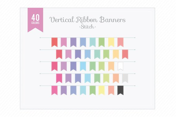 Vertical Ribbon Banners Stitch Clip Art-Colorful Digital s Elements for ,Web ,Blog,Scrapbooking