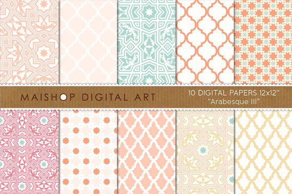 Digital Paper-Arabesque III-Coral,Pink Pale,Sc,al Grn,Apricot,Sweet Moroccan print Papers