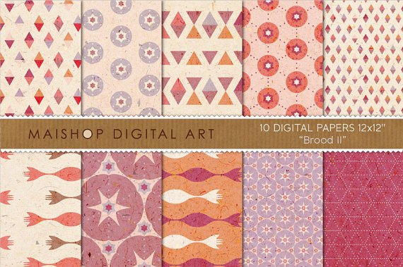 Digital Paper - Brood II - Cream, Lilac, Org, Stars, Triangles, Geometric Papers