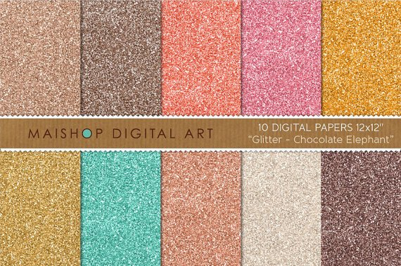 Glitter Digital Paper-Chocolate Elephant-GoldMintChampagnePinkOrg,Brw GlitterDesignCard Making