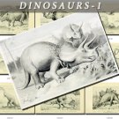 DINOSAURS-1-bw EXTINCT animals 49 black-, -white vintage print