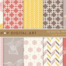 Digital Paper-I Love Hummingbirds-papers of Birds,Geometric,Herringbone Chevron