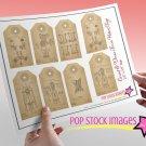 Vintage Corset Dress Form Patents print Tags-Set of 8 print Tags Collage Sheet-Corset