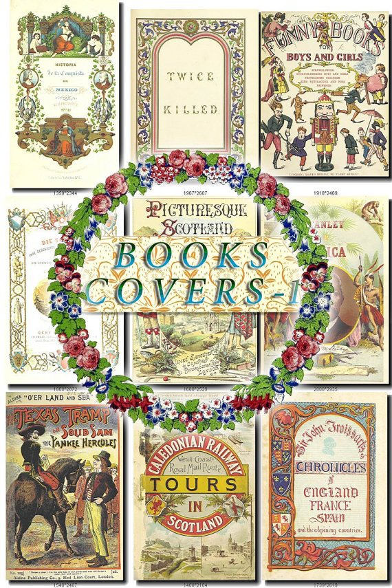 BOOKS COVERS-1 100 vintage images High Res.