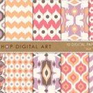 Digital Paper - Ikat - print Digital Sheets for Scrapbooking, Papercraft, Cards