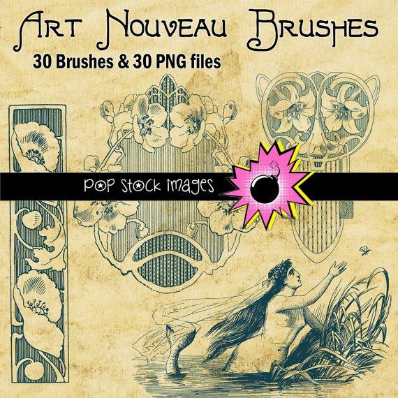 Art Nouveau Frames Ornaments Brushes