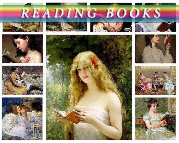 READING BOOKS on 240 vintage print