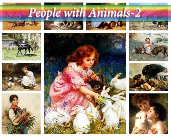 PEOPLE with ANIMALS-2 on 252 vintage print
