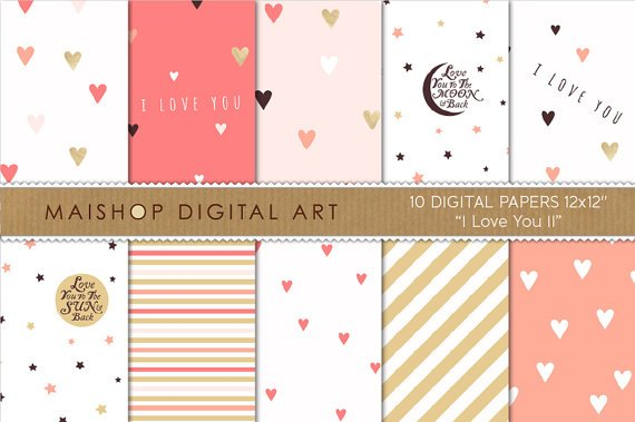 Romantic Digital Paper 'I Love You II' CoralPinkGoldWh PapersW ArtStationery