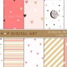 Romantic Digital Paper 'I Love You II' CoralPinkGoldWh PapersW ArtStationery