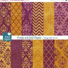 Purple , Gold Damask Digital Papers - Scrapbooking Paper - card design, stickers