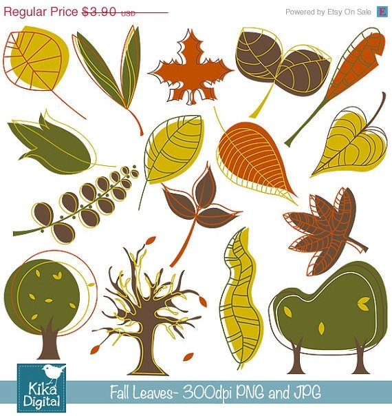 F Leaves Digital Clipart - Scrapbooking , card design, invitations, stickers