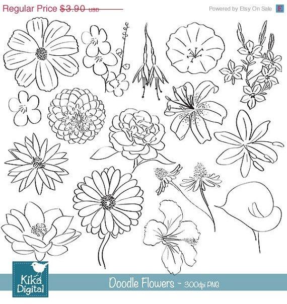 Doodle Flowers Digital Clipart - Scrapbooking , card design,b jars,h, drawn
