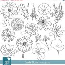Doodle Flowers Digital Clipart - Scrapbooking , card design,b jars,h, drawn