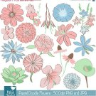Colored Doodle Flowers Digital Clipart-Scrapbookingcard designweddinghdrawn