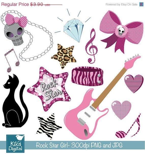 Rock Star Girl Clipart - P\Sweet Sixteen Clip Art - Scrapbooking, card design