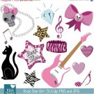Rock Star Girl Clipart - P\Sweet Sixteen Clip Art - Scrapbooking, card design