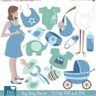 Boy Baby Shower Digital Clipart - Scrapbooking , card design, photo booth