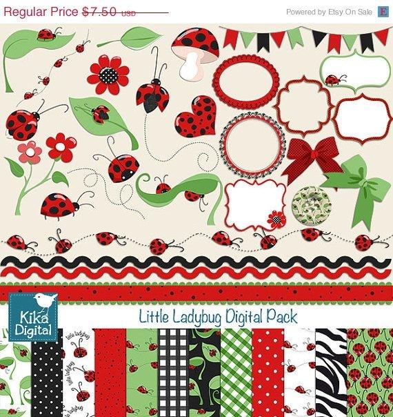Ladybug Digital Clipart , Paper Pack - Scrapbooking , card design, stickers