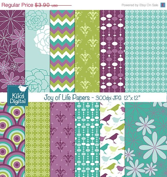Joy of Life Digital Papers - Scrapbooking, card design, stickers, backgroundA