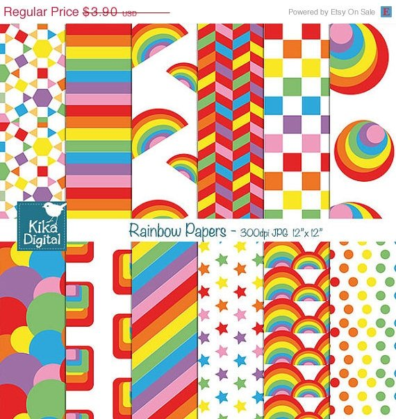 Retro Rainbow Digital Papers II - Colorful Scrapbook Papers - card design