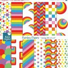 Retro Rainbow Digital Papers II - Colorful Scrapbook Papers - card design