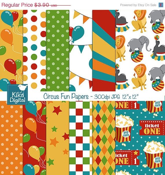 Circus Digital Papers - Digital Scrapbooking Papers - card design, background