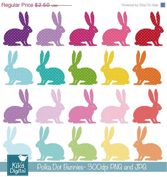 Polka Dot Bunnies Digital Clipart - Scrapbooking , card design, stickers