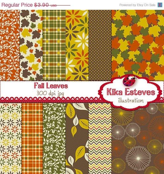 F Digital Papers - Digital Scrapbooking brown, Grn,Org Papers - card design