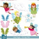 Angels Digital Clipart / Scrapbooking Grn, Blu , pink - card design, invitations
