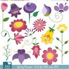 Doodle Spring Flowers Digital Clipart / Scrapbooking - card design, invitations